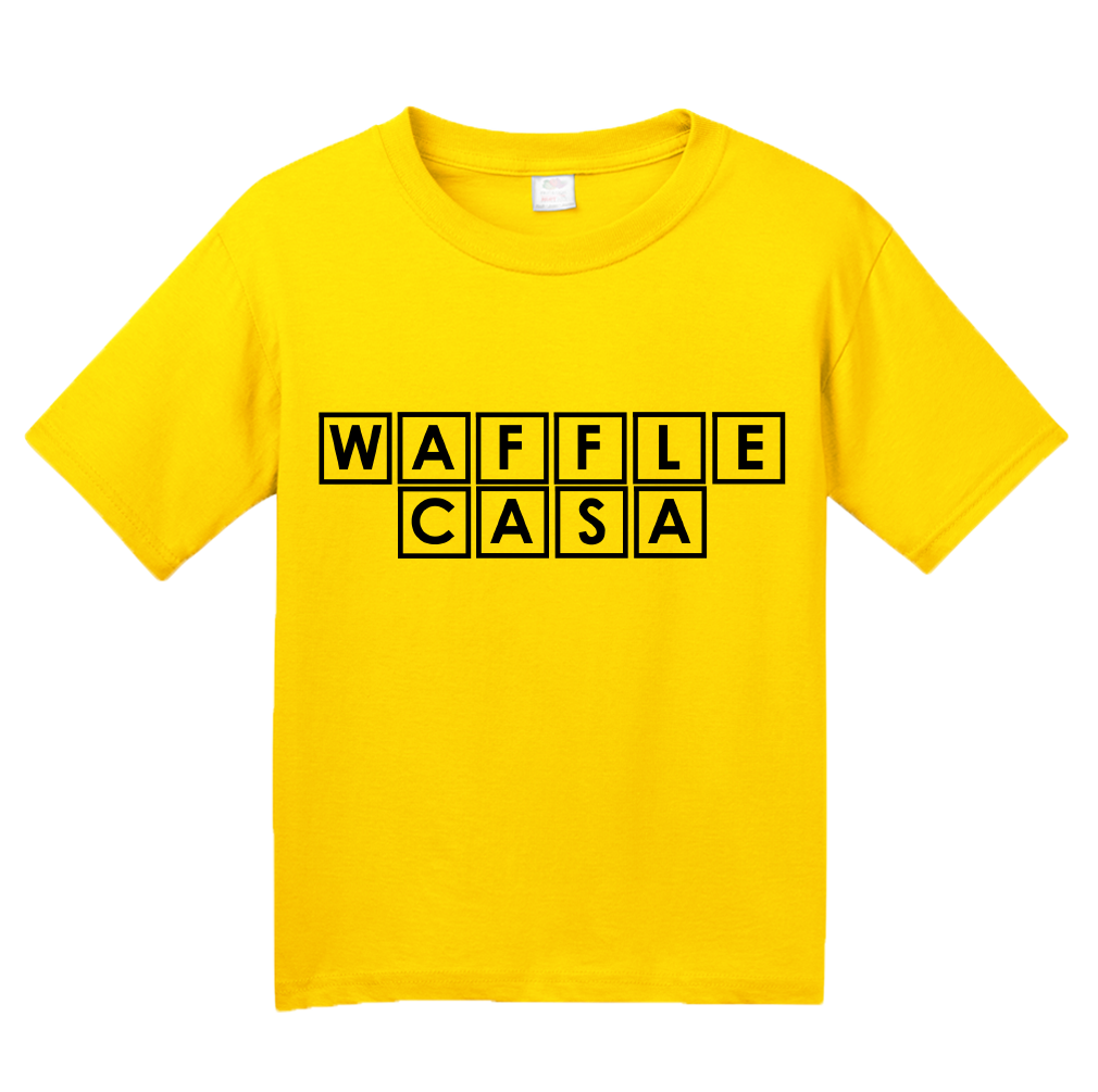 Youth Yellow Waffle Casa - Waffle House Lover Parody Espanol Grits Funny T-shirt