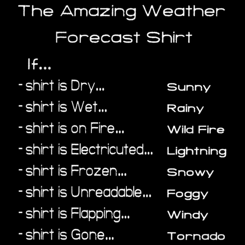 AMAZING WEATHER PREDICTING SHIRT Black art preview