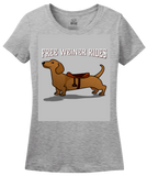 Ladies Grey Free Weiner Rides - Dachshund Dog Humor Funny Silly Joke T-shirt
