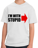 Youth White I'm With Stupid - Insult Humor Sarcastic Dumb Joke Funny T-shirt