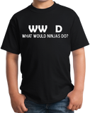 Youth Black What Would Ninjas Do? - Ninja Joke Atheist Humor Funny Meme T-shirt