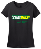 Ladies Black Zombies: Eat Flesh - Zombie Parody Humor Subway Sandwiches Joke T-shirt