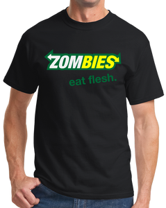 Standard Black Zombies: Eat Flesh - Zombie Parody Humor Subway Sandwiches Joke T-shirt