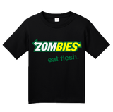 Youth Black Zombies: Eat Flesh - Zombie Parody Humor Subway Sandwiches Joke T-shirt