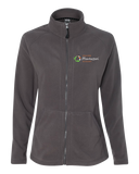 Ladies' Microfleece Full Zip Jacket Grey Macomb Montessori Academy Green, White, and Orange Logo Full-Zip-Fleece
