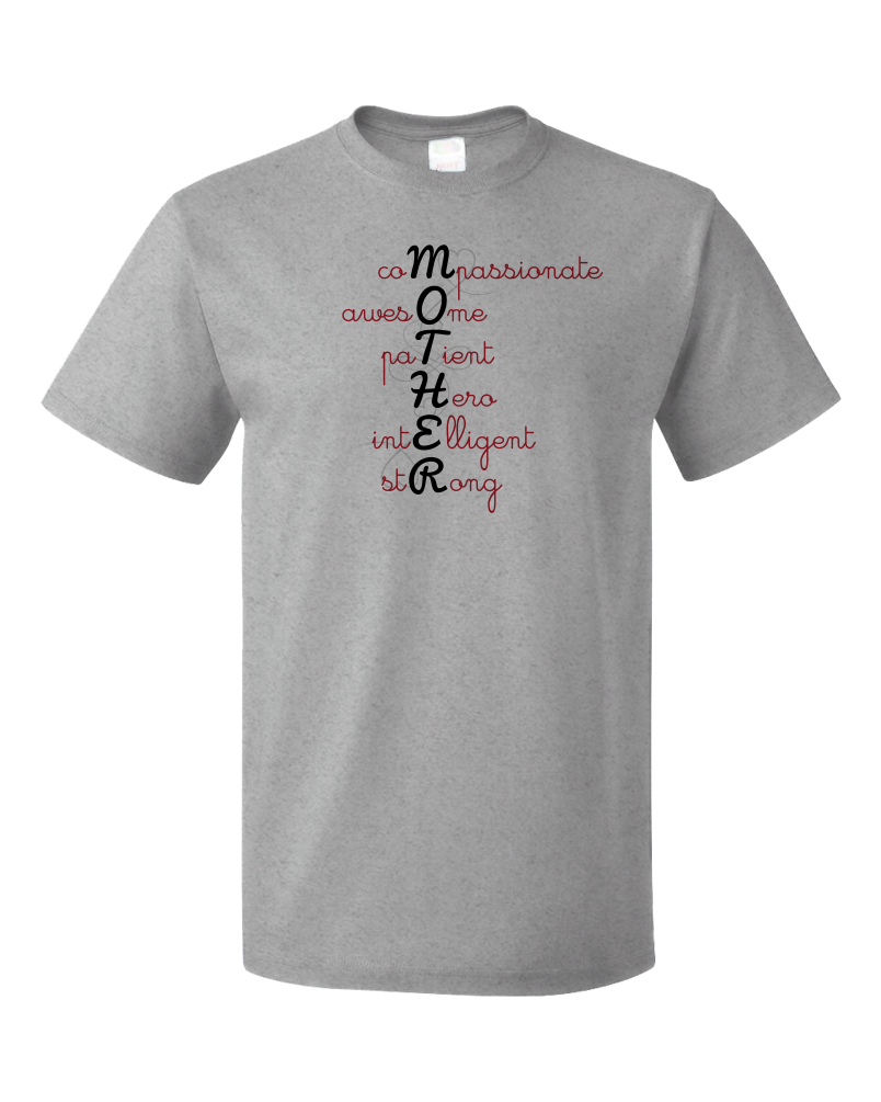 Unisex Grey Acrostic Mother Poem - Mother's Day Gift Words For Mom Love