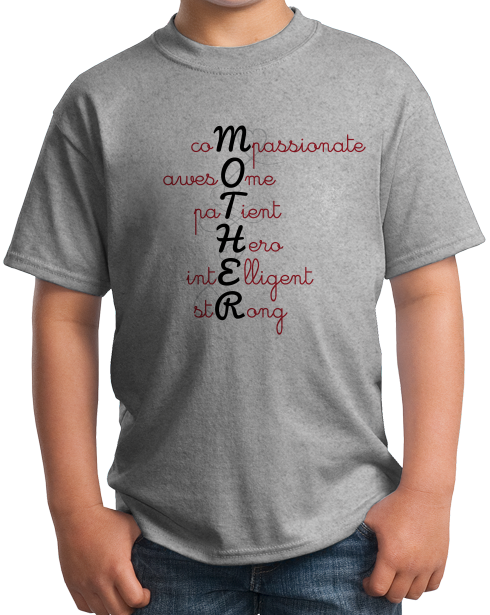 Youth Grey Acrostic Mother Poem - Mother's Day Gift Words For Mom Love