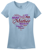 Ladies Light Blue Mother In Many Languages - Mother's Day Gift New Mommy Love T-shirt