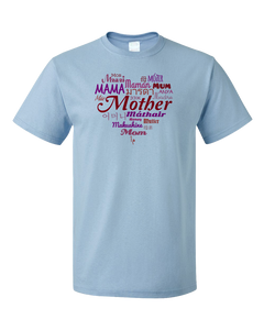Standard Light Blue Mother In Many Languages - Mother's Day Gift New Mommy Love T-shirt