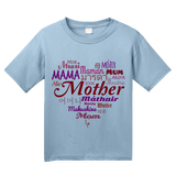 Youth Light Blue Mother In Many Languages - Mother's Day Gift New Mommy Love T-shirt