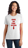 "Ladies White ""One In The Oven"" - Police Academy Homage Movie T-shirt"