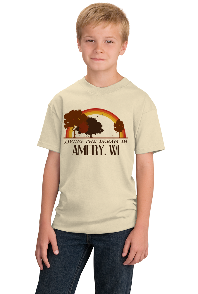 Youth Natural Living the Dream in Amery, WI | Retro Unisex  T-shirt