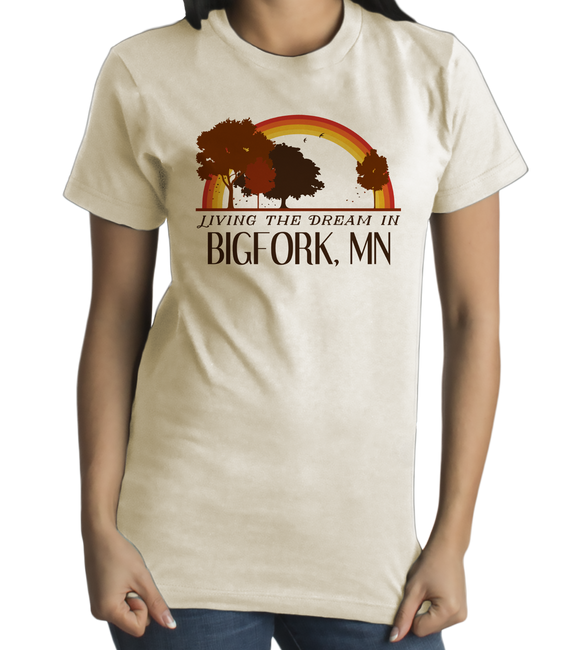 Standard Natural Living the Dream in Bigfork, MN | Retro Unisex  T-shirt