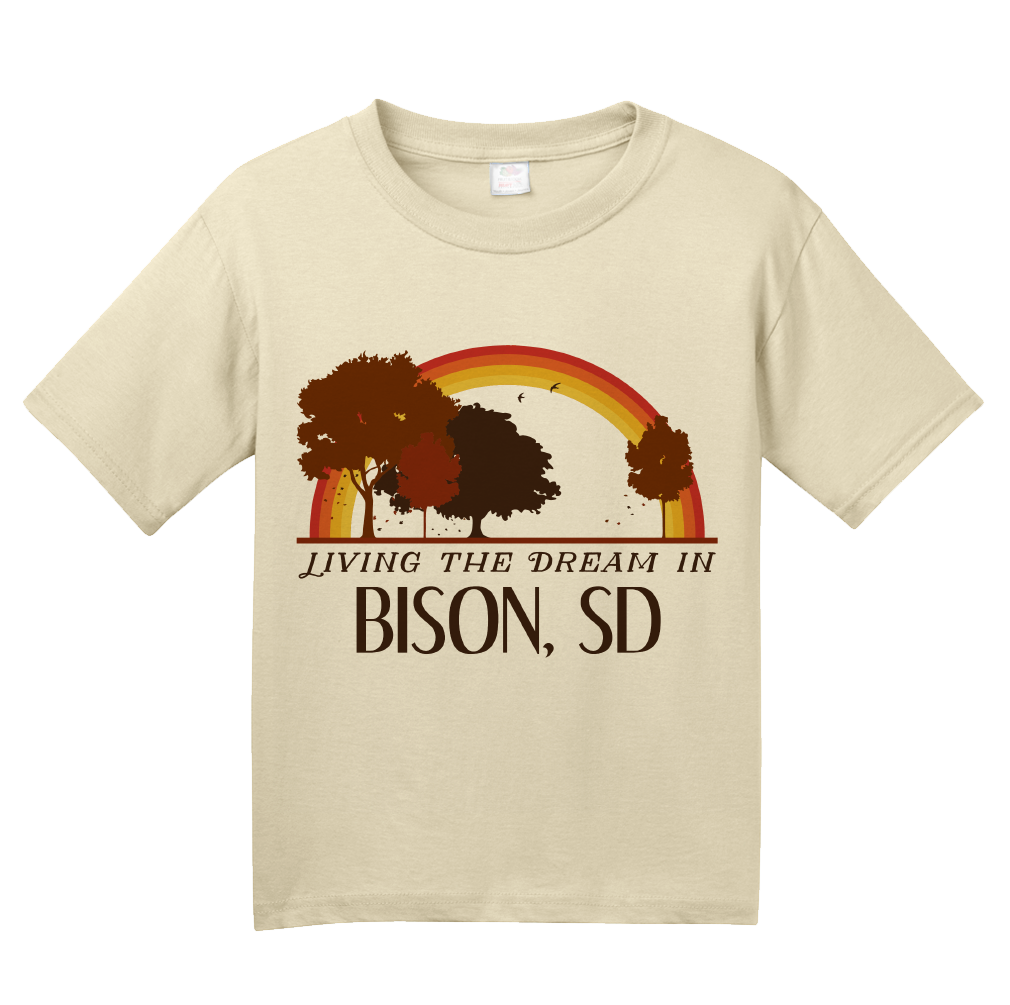 Youth Natural Living the Dream in Bison, SD | Retro Unisex  T-shirt
