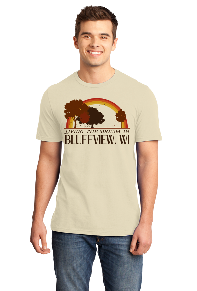 Standard Natural Living the Dream in Bluffview, WI | Retro Unisex  T-shirt