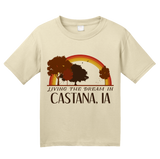Youth Natural Living the Dream in Castana, IA | Retro Unisex  T-shirt