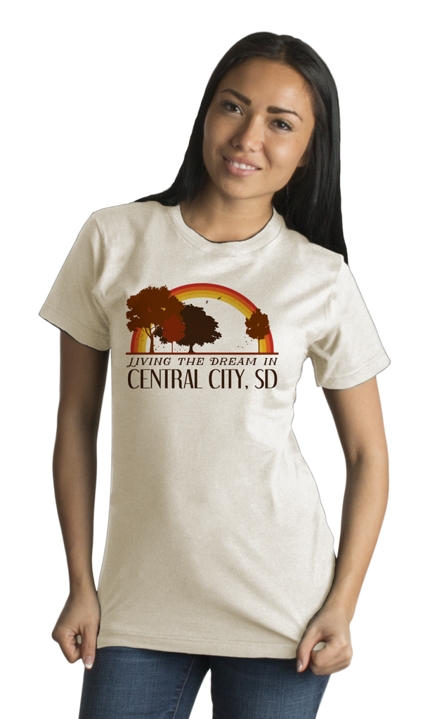 Standard Natural Living the Dream in Central City, SD | Retro Unisex  T-shirt