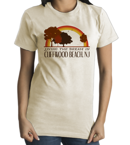 Standard Natural Living the Dream in Cliffwood Beach, NJ | Retro Unisex  T-shirt