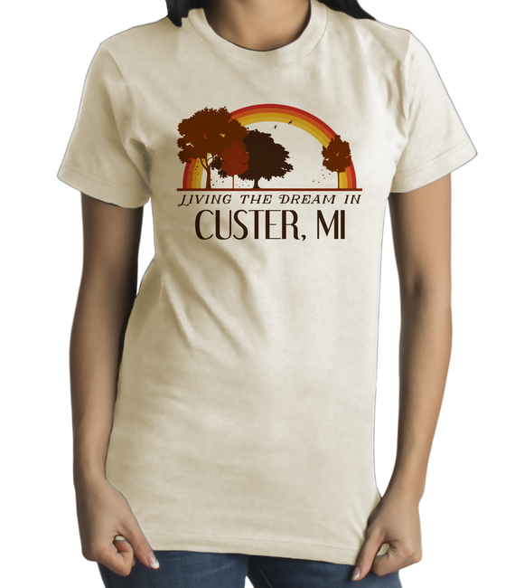 Standard Natural Living the Dream in Custer, MI | Retro Unisex  T-shirt