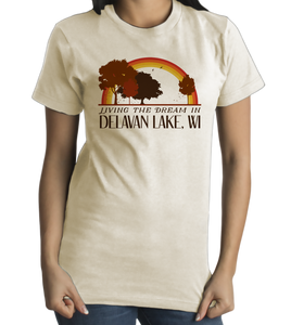 Standard Natural Living the Dream in Delavan Lake, WI | Retro Unisex  T-shirt
