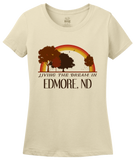 Ladies Natural Living the Dream in Edmore, ND | Retro Unisex  T-shirt