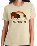 Ladies Natural Living the Dream in Long Island, ME | Retro Unisex  T-shirt