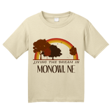 Youth Natural Living the Dream in Monowi, NE | Retro Unisex  T-shirt