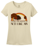 Ladies Natural Living the Dream in Nett Lake, MN | Retro Unisex  T-shirt