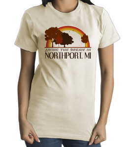 Standard Natural Living the Dream in Northport, MI | Retro Unisex  T-shirt