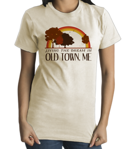 Standard Natural Living the Dream in Old Town, ME | Retro Unisex  T-shirt