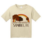 Youth Natural Living the Dream in Sanibel, FL | Retro Unisex  T-shirt