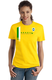 Ladies Yellow Brazil National Drinking Team - Brazilian Soccer Funny Football T-shirt