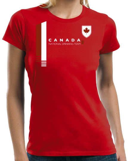 Ladies Red Canada National Drinking Team - Canadian Soccer Football Funny T-shirt