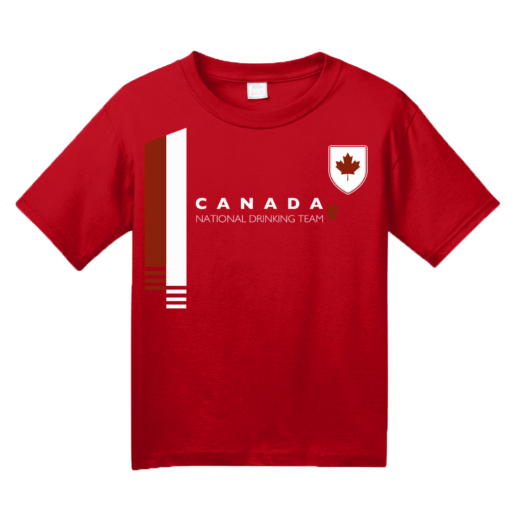Youth Red Canada National Drinking Team - Canadian Soccer Football Funny T-shirt