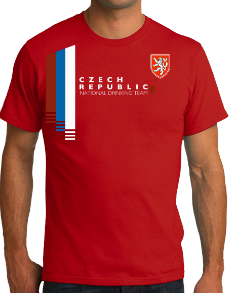 Standard Red Czech Republic National Drinking Team - Czech Soccer Football T-shirt