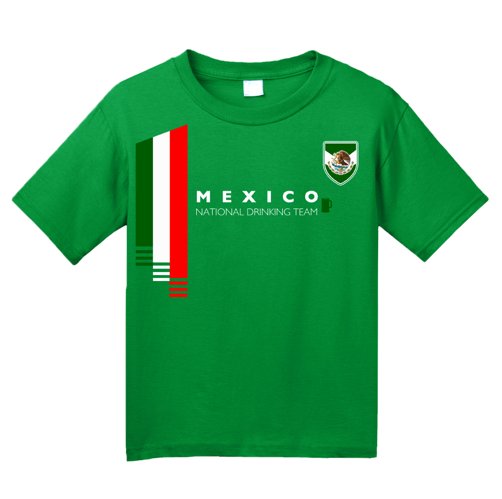 cef749a65 ... Youth Green Mexico National Drinking Team - Mexican Soccer Futbol Funny  T-shirt ...