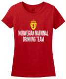 Ladies Red Norwegian National Drinking Team - Norway Soccer Football T-shirt