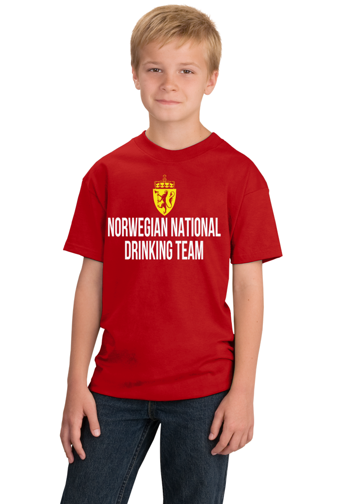 Youth Red Norwegian National Drinking Team - Norway Soccer Football T-shirt
