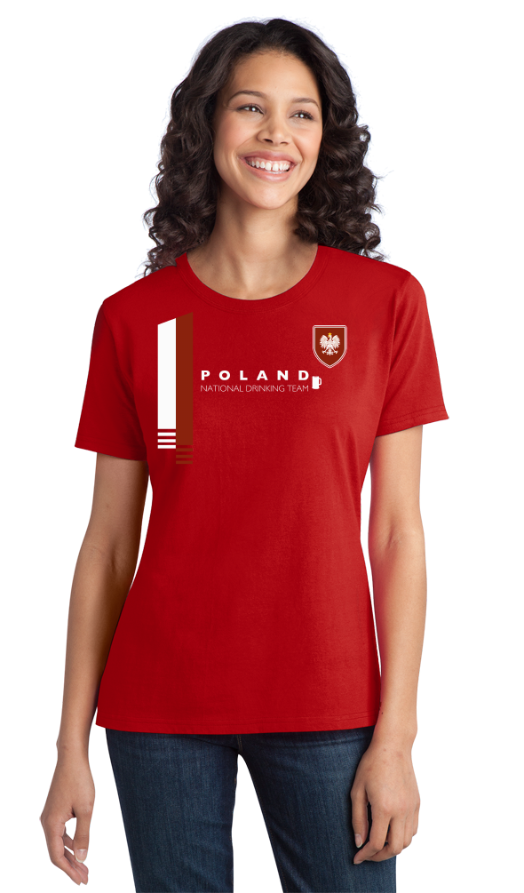Ladies Red Poland National Drinking Team - Polish Soccer Football Funny T-shirt