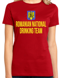 Ladies Red Romanian National Drinking Team - Romania Soccer Football T-shirt