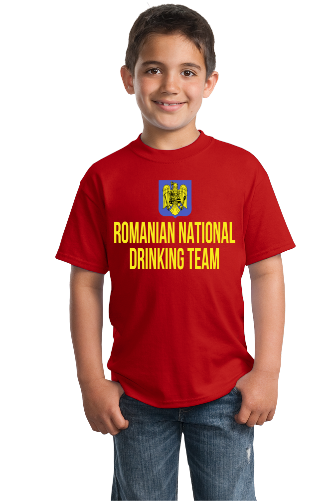 Youth Red Romanian National Drinking Team - Romania Soccer Football T-shirt