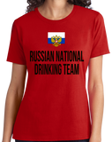 Ladies Red Russian National Drinking Team - Russia Soccer Football Fan T-shirt