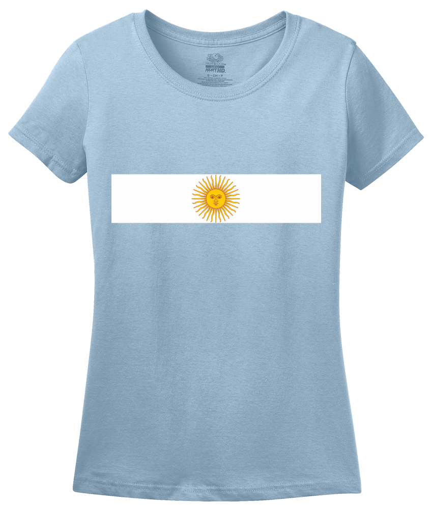Ladies Light Blue Argentina National Flag - Argentinian Argentine Pride Heritage T-shirt