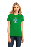 Ladies Green Brazil Coat Of Arms - Brazilian Pride Love Rio Bahia Brasil T-shirt