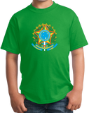 Youth Green Brazil Coat Of Arms - Brazilian Pride Love Rio Bahia Brasil T-shirt
