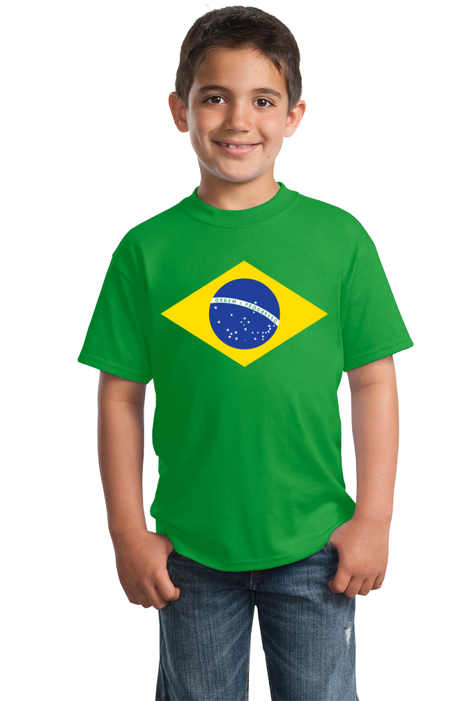 Youth Green Brazil National Flag T-shirt