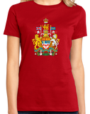 Ladies Red Canadian National Coat Of Arms - Canada Pride Flag Love T-shirt