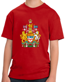 Youth Red Canadian National Coat Of Arms - Canada Pride Flag Love T-shirt