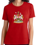 Ladies Red Manitoba Provincial Coat Of Arms - Winnipeg Mantinoban Pride T-shirt