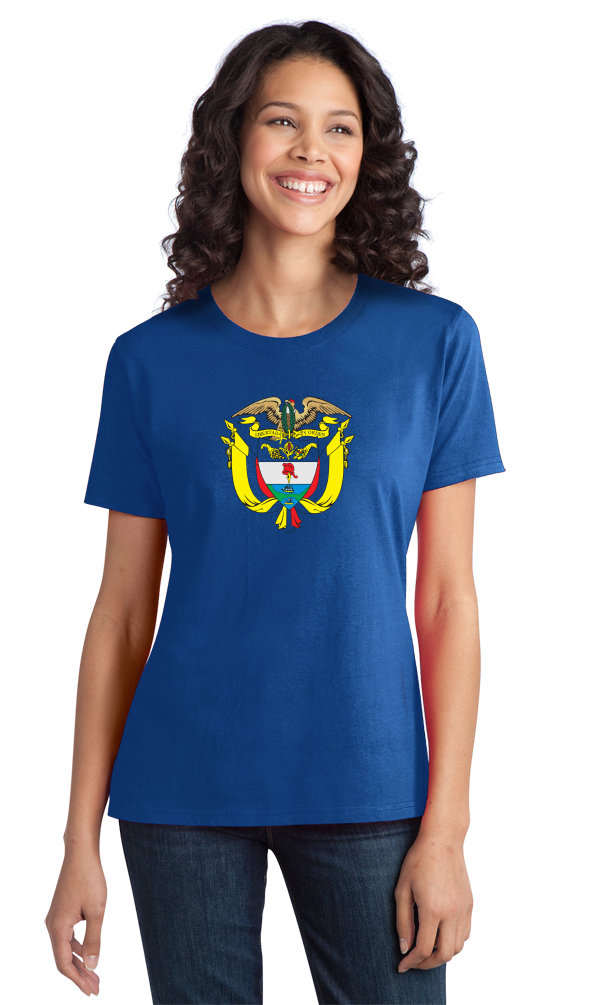 Ladies Royal Colombia Coat Of Arms - Columbian Pride Flag History Heritage T T-shirt
